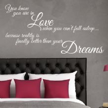 You Know you're in Love When you Can't Fall Asleep ~ Wall sticker / decals